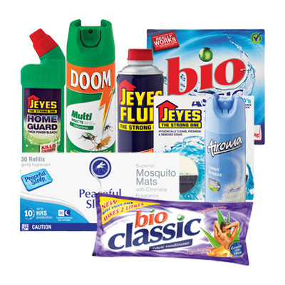 Household Combo - Jeyes Disinfectant Fluid 500ml - Jeyes Homeguard Thick Barrier Guard 750ml - Peaceful Sleep Mosquito Mats 48 Gr - Jeyes Toilet Block Bleach An D Original - Doom Defend Insecticide 300ml - Airoma Air Freshener 225ml - Bio Classic Sandalwood And Ylang Ylang Fabric  - Conditioner Refill 500ml - Bio Classic Triple Action Washing Powder 1.5kg